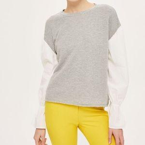 Topshop Long Sleeve colorblock sweater